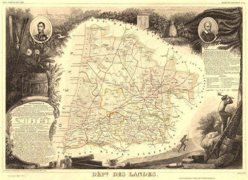 Associate Product Département des LANDES. Decorative antique map/carte by Victor LEVASSEUR 1852
