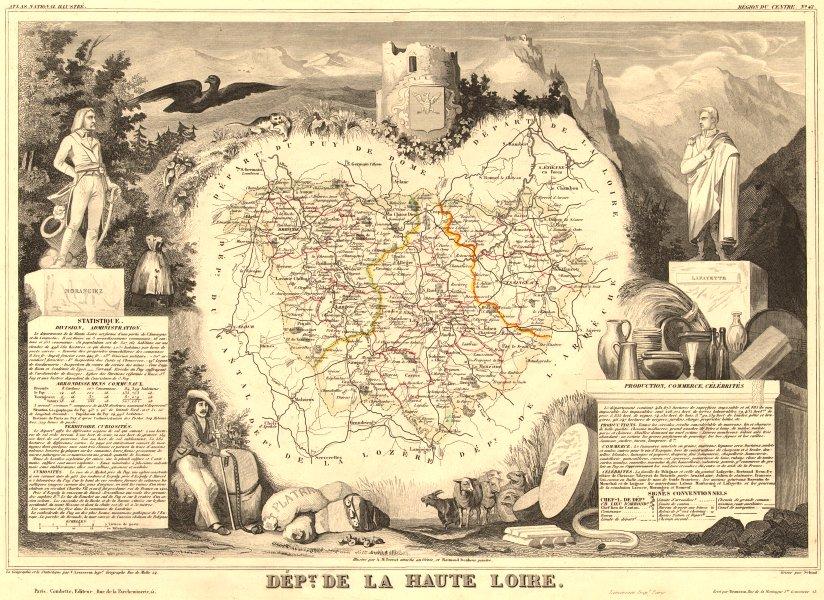 Associate Product Département de la HAUTE-LOIRE. Decorative antique map/carte. LEVASSEUR 1852