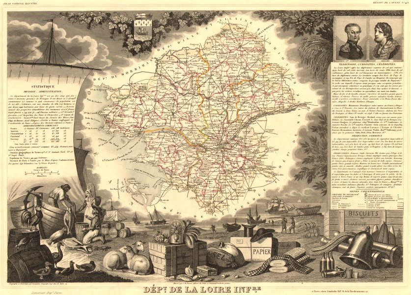 Associate Product Département de la LOIRE-INFÉRIEURE. Loire-Atlantique. LEVASSEUR 1852 old map