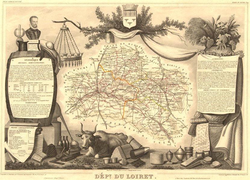 Associate Product Département du LOIRET. Decorative antique map/carte by Victor LEVASSEUR 1852