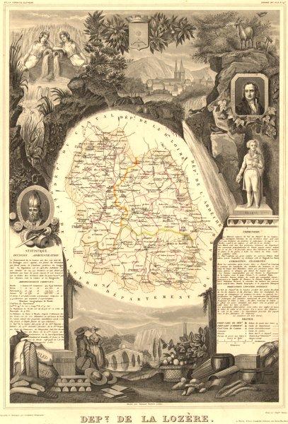 Département de la LOZÈRE. Decorative antique map/carte by Victor LEVASSEUR 1852
