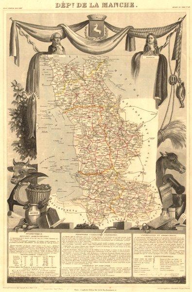 Associate Product Département de la MANCHE. Decorative antique map/carte by Victor LEVASSEUR 1852
