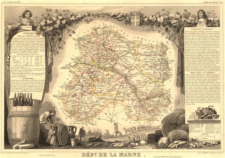 Associate Product Département de la MARNE. Decorative antique map/carte by Victor LEVASSEUR 1852