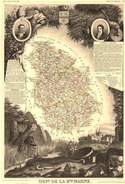 Associate Product Département de la HAUTE-MARNE. Decorative antique map/carte. LEVASSEUR 1852