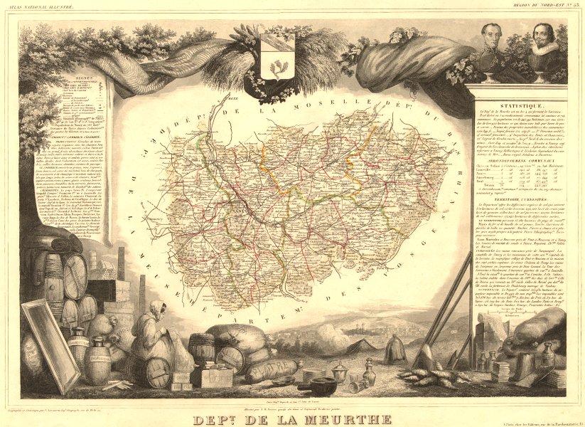 Associate Product Département de la MEURTHE. Decorative antique map/carte. Victor LEVASSEUR 1852