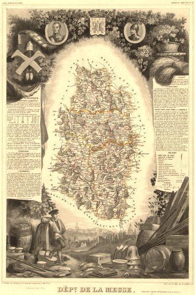 Associate Product Département de la MEUSE. Decorative antique map/carte by Victor LEVASSEUR 1852