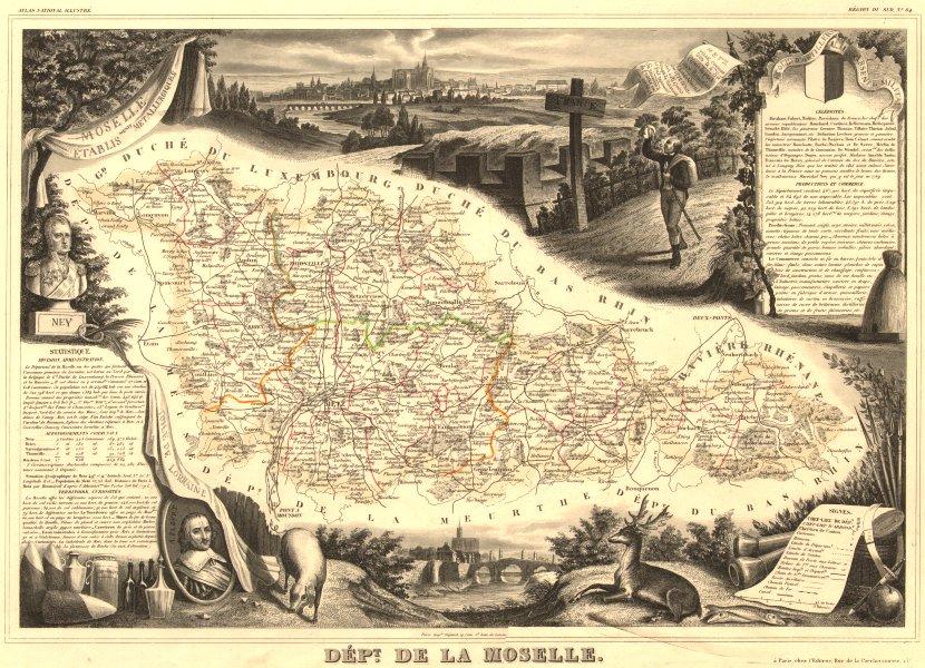 Associate Product Département de la MOSELLE. Decorative antique map/carte. Victor LEVASSEUR 1852