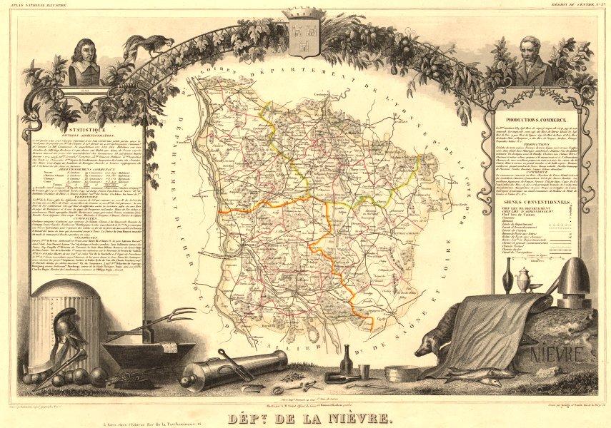 Associate Product Département de la NIÈVRE. Decorative antique map/carte by Victor LEVASSEUR 1852