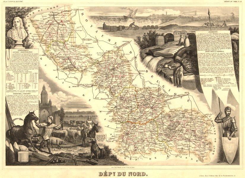 Associate Product Département du NORD. Decorative antique map/carte by Victor LEVASSEUR 1852