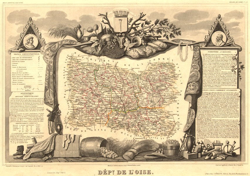 Associate Product Département de l'OISE. Decorative antique map/carte by Victor LEVASSEUR 1852