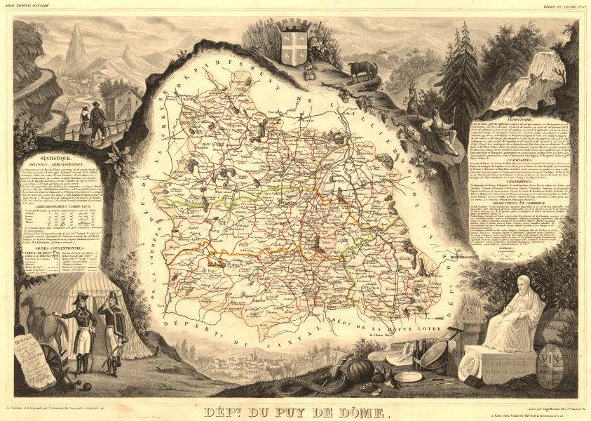 Département du PUY-DE-DÔME. Decorative antique map/carte. LEVASSEUR 1852