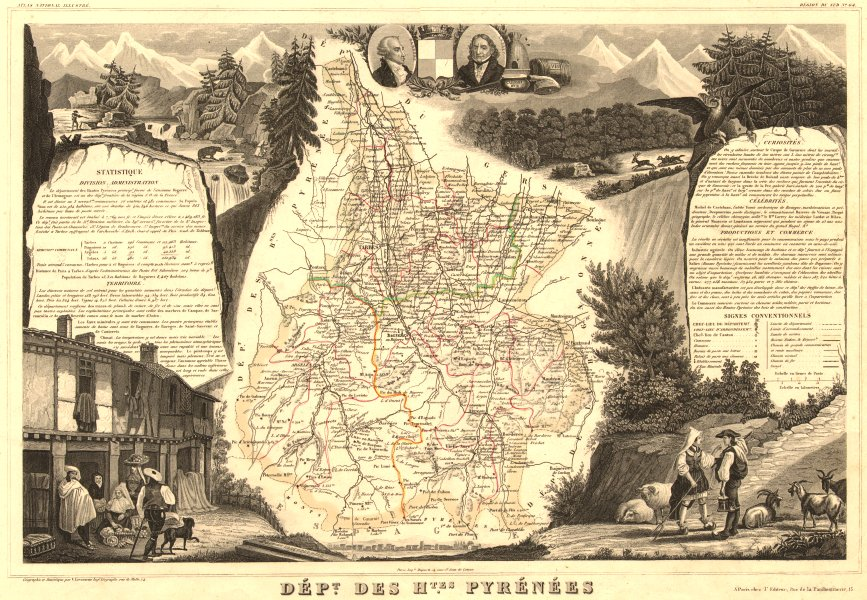 Associate Product Département des HAUTES-PYRÉNÉES. Decorative antique map/carte. LEVASSEUR 1852