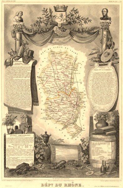 Associate Product Département du RHÔNE. Decorative antique map/carte by Victor LEVASSEUR 1852