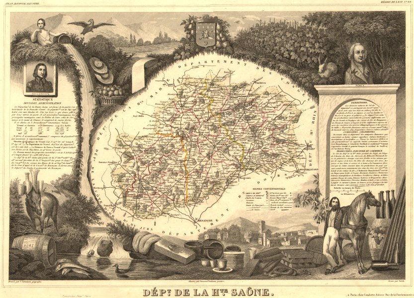 Associate Product Département de la HAUTE-SAÔNE. Decorative antique map/carte. LEVASSEUR 1852