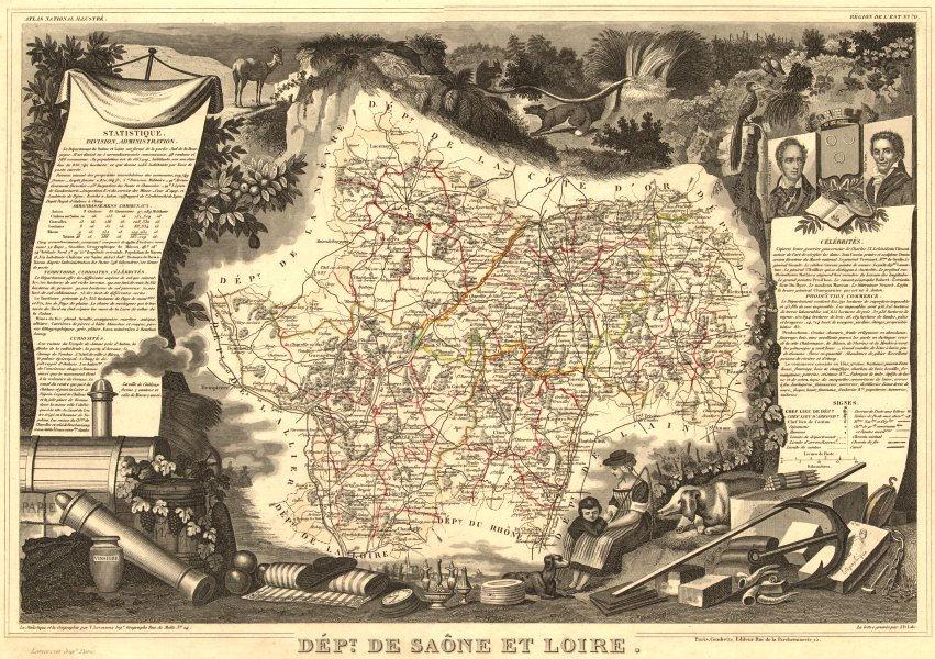 Associate Product Département de SAÔNE-ET-LOIRE. Decorative antique map/carte. LEVASSEUR 1852