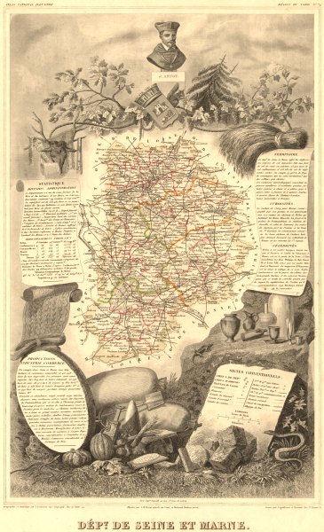 Associate Product Département de SEINE-ET-MARNE. Decorative antique map/carte. LEVASSEUR 1852