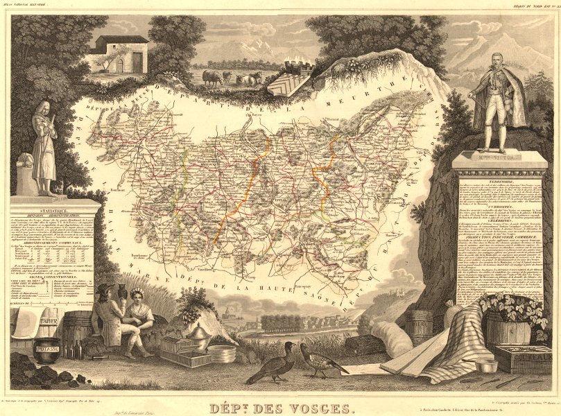 Associate Product Département des VOSGES. Decorative antique map/carte by Victor LEVASSEUR 1852