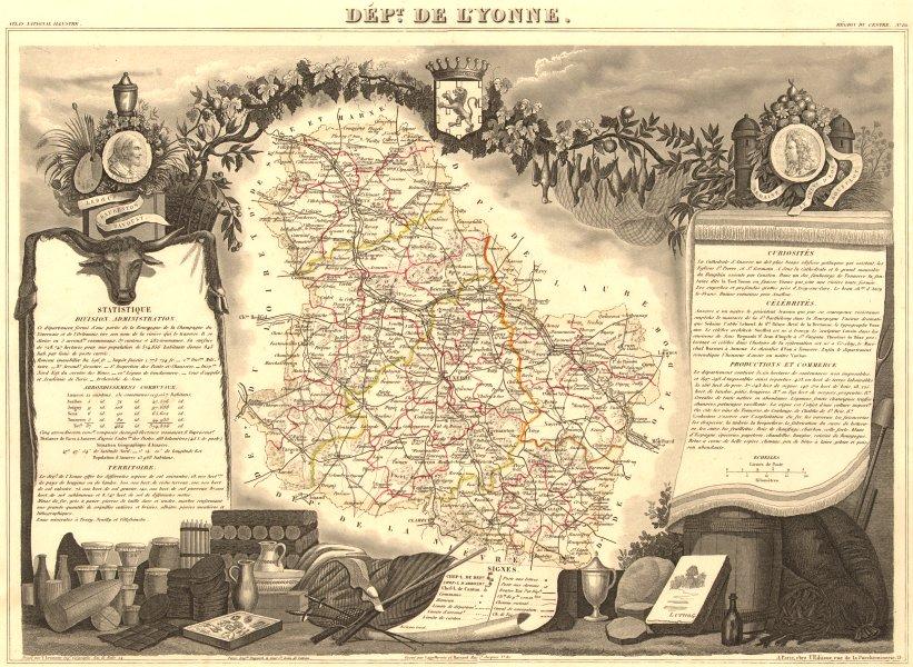 Associate Product Département de l'YONNE. Decorative antique map/carte by Victor LEVASSEUR 1852
