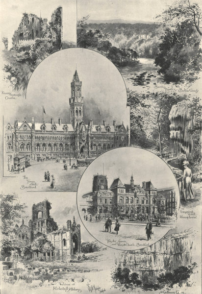 Associate Product Bradford: Town hall. Forster Square. Kirkstall Abbey. Malham Cove 1900
