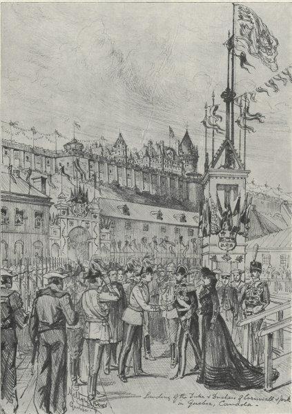 Associate Product The Duke & Duchess of Cornwall landing at Quebec 1901 antique ILN full page