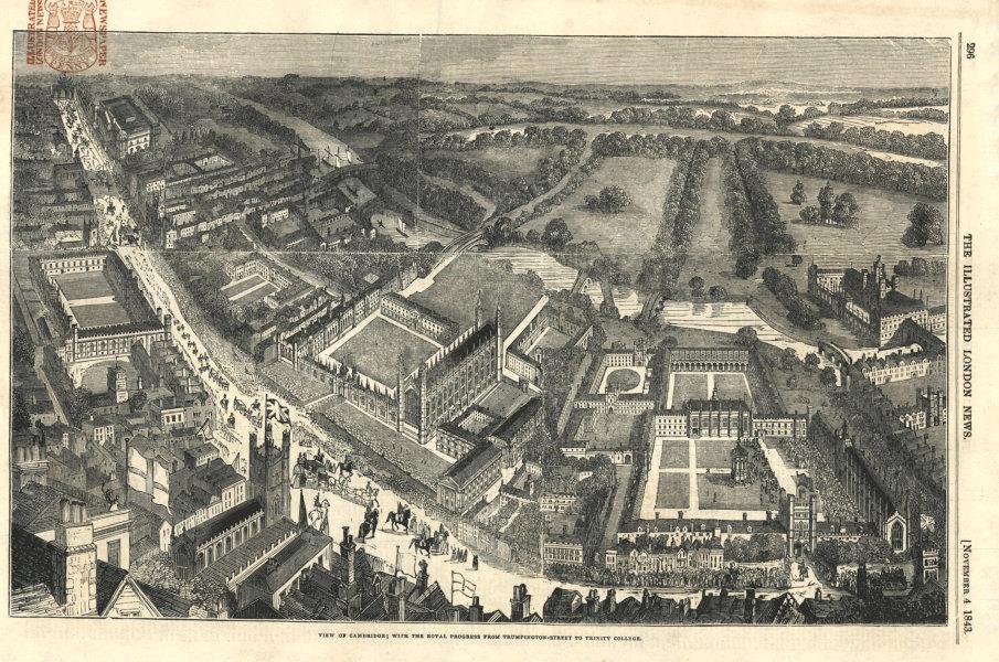 Associate Product CAMBRIDGE. Queen Victoria's visit. Trumpington Street & Trinity College 1843