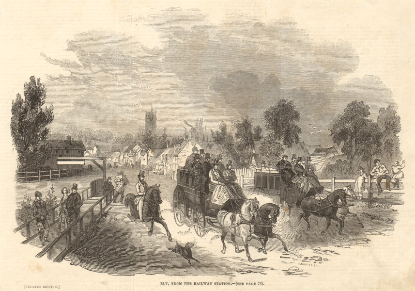 Associate Product Ely from the railway station. Cambridgeshire 1845 antique ILN full page print