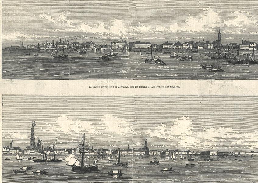 Associate Product Antwerp panorama from the sea. Arrival of Queen Victoria. Belgium 1845