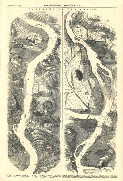 Associate Product Rhine Panorama: Erpel - Andernach - Neuwied - Koblenz - Stolzenfels 1845 map