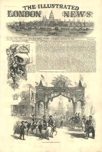 Associate Product Queen Victoria's entree into Coburg. Bavaria 1845 antique ILN full page print