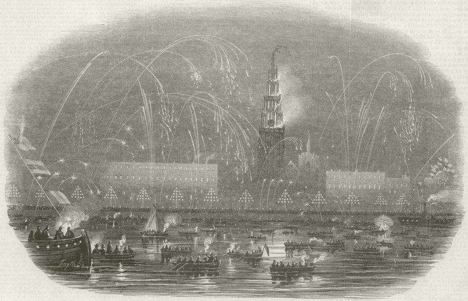 Associate Product The Illumination of Antwerp, at Queen Victoria's Return. Belgium 1845