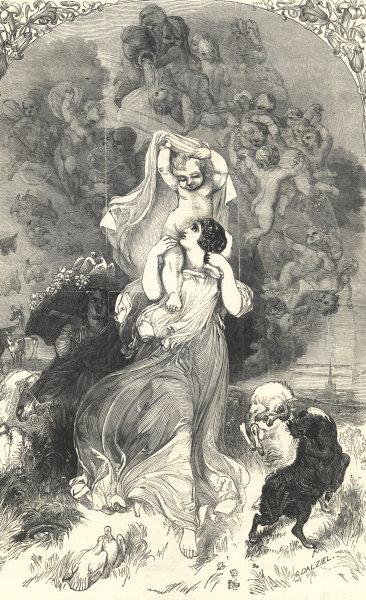 Spring, by William Harvey. Fantasy. Cherubs 1846 antique ILN full page print