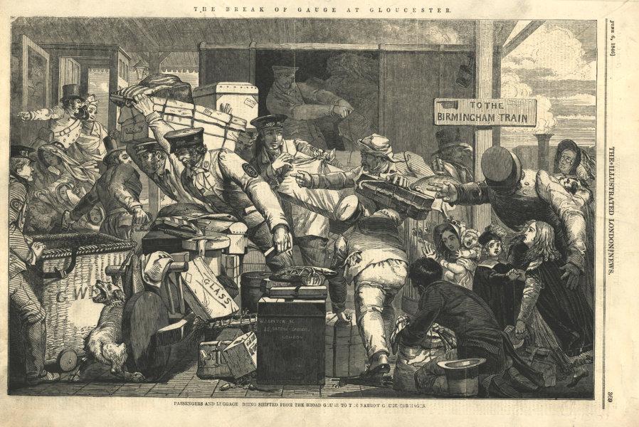 Associate Product Gloucester break-of-gauge. Passengers & luggage changing platforms 1846