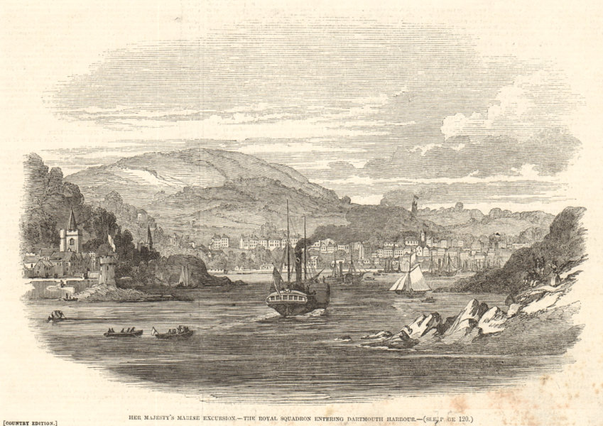 Associate Product Queen Victoria. The Royal Squadron entering Dartmouth Harbour. Devon 1847