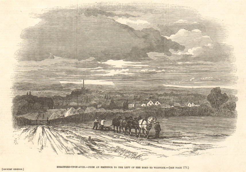 Associate Product Stratford-upon-Avon - from the left of the road to Warwick. Warwickshire 1847