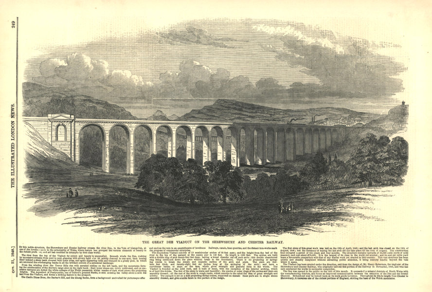 Associate Product The Great Dee viaduct on the Shrewsbury & Chester Railway. Wales 1848
