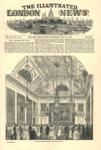 Associate Product The Grand Saloon at Devonshire House. London. Society 1850 ILN full page print