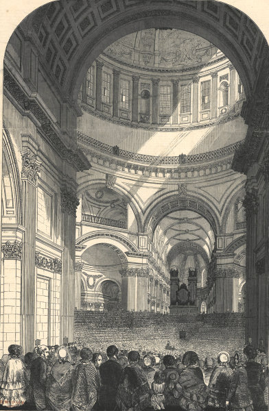 Meeting of the charity children in St. Paul's Cathedral. London 1850 ILN print