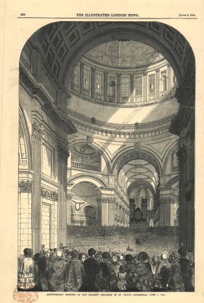 Associate Product Meeting of the charity children in St. Paul's Cathedral. London 1850 ILN print