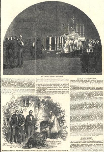Associate Product Louis Philippe funeral: Chapelle Ardente, Claremont. Chapel vault Weybridge 1850