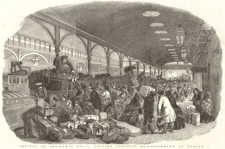 Associate Product Arrival of the Christmas train, Eastern Counties Railway. London 1850