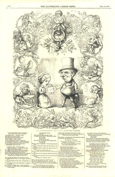 St. Valentine's day. Cartoons. Romance 1851 antique ILN full page print