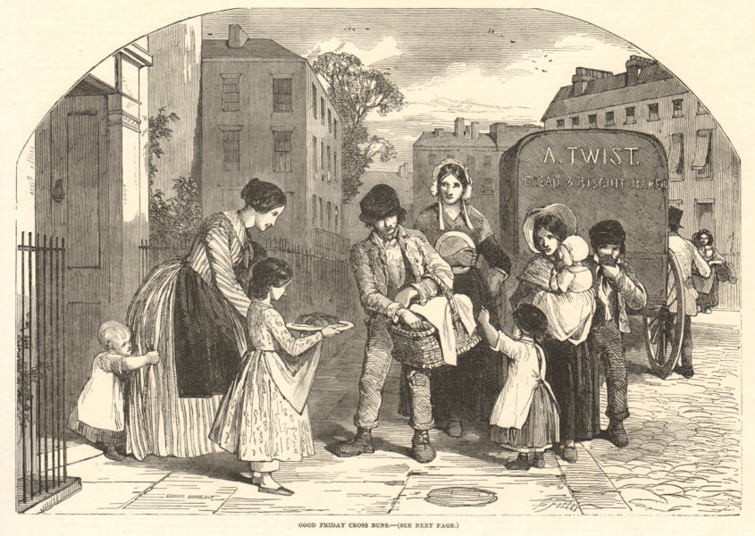 Associate Product Good Friday hot cross buns. Children. Society 1851 antique ILN full page print