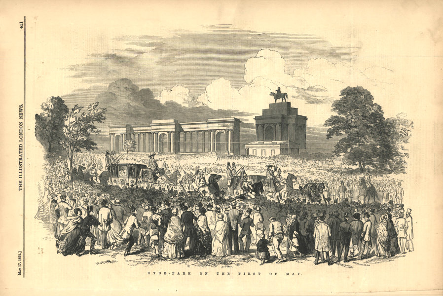Associate Product Hyde-Park on the first of May. London 1851 antique ILN full page print