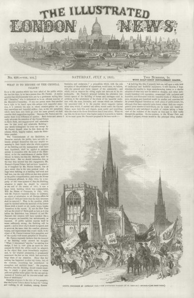 Associate Product Godiva Procession at St. Michael's church, Coventry Fair 1851 antique ILN page
