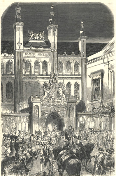 Arrival of Her Majesty at the Guildhall. London. Buildings 1851 ILN full page