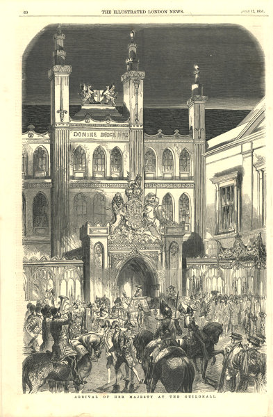 Associate Product Arrival of Her Majesty at the Guildhall. London. Buildings 1851 ILN full page