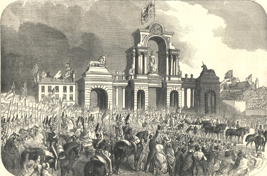 Associate Product The Royal Procession at Windsor Bridge Arch, Salford. Manchester 1851