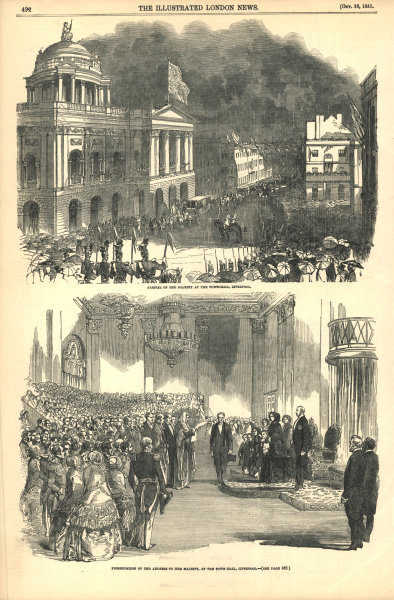 Associate Product Queen Victoria at Liverpool town hall. Arrival & address 1851 antique ILN page