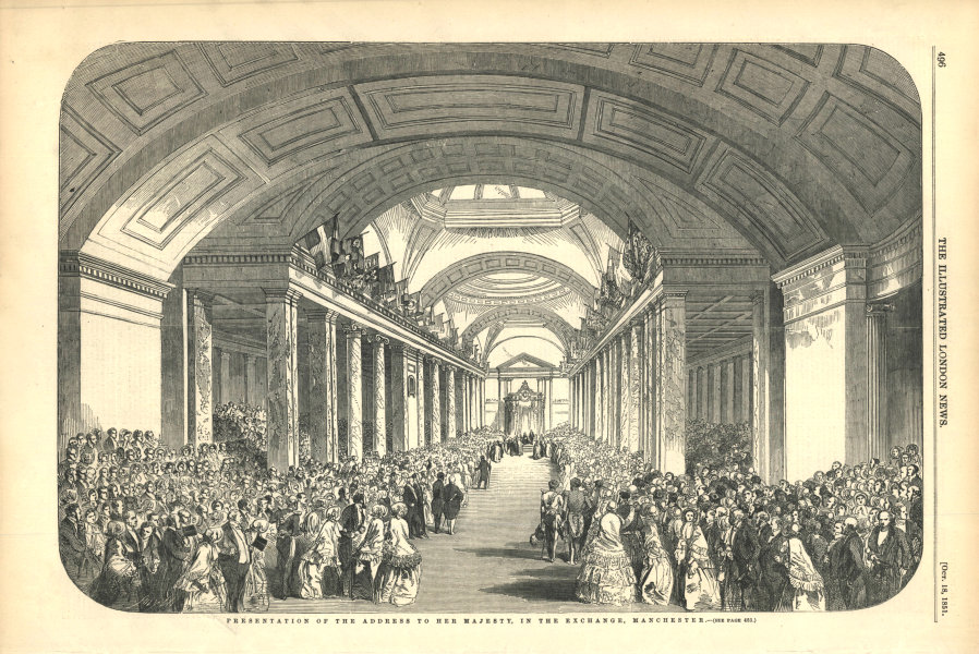 Associate Product Presentation of the address of the Exchange, Manchester. Lancashire 1851