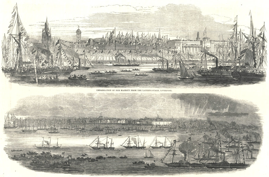Associate Product Embarkation of Her Majesty from the landing-stage, Liverpool 1851 ILN print